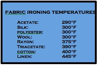 fabric ironing temp